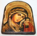 Подарочная икона под старину Богородица с Младенцем арка