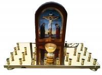 Крышка панихидного стола на 22 свечки латунная с иконой