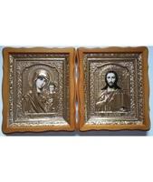 Венчальная пара Икона Спасителя и Казанской Божьей Матери 4538-РВП-1 45х38 см, деревянный фигурный киот, в ризе