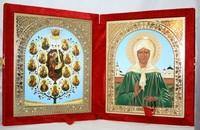 Икона-складень Древо Богородицы и Матрона Московская (15*18 см)