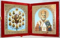 Икона-складень Древо Богородицы и Николай Чудотворец (15*18 см)
