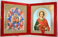 Икона-складень Божья Матерь Неопалимая Купина и Пантелеймон Целитель (15*18 см)