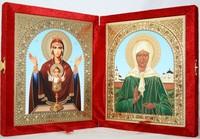 Икона-складень Божья Матерь Неупиваемая Чаша и Матрона Московская (15*18 см)