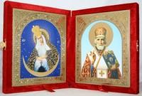 Икона-складень Божья Матерь Остробрамская и Николай Чудотворец (15*18 см)