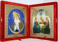 Икона-складень Божья Матерь Остробрамская и Святая Троица (15*18 см)