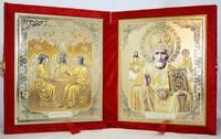 Икона-складень Святая Троица и Николай Чудотворец (15*18 см)