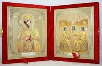 Икона-складень Божья Матерь Умягчение злых сердец и Святая Троица (15*18 см)