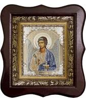 Икона Ангела Хранителя 1012-ФБ-1 17х20 см деревянный фигурный киот, лик 10х12 поясной Софрино белая одежда, оклад (риза) золото