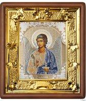 Икона Ангела Хранителя 31-П-1 24х27 см деревянный прямой киот, лик 15х18 поясной Софрино белая одежда, оклад (риза) золото.