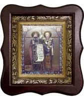 Икона Кирилл и Мефодий Фигурный деревянный светлый киот размером 130х260х40 мм, со стеклом. Внутри багетная рамка с ОБЬЕМНЫМ -3 D лик 15х18см :