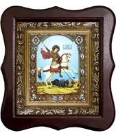 Икона Святой Георгий Победоносец на коне Фигурный деревянный светлый киот размером 130х260х40 мм, со стеклом. Внутри багетная рамка с ОБЬЕМНЫМ -3 D лик 15х18см :