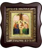 Икона Святой Троицы Фигурный деревянный светлый киот размером 130х260х40 мм, со стеклом. Внутри багетная рамка с ОБЬЕМНЫМ -3 D лик 15х18см :