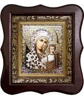 Икона Богородицы Казанской Фигурный деревянный светлый киот размером 130х260х40 мм, со стеклом. Внутри багетная рамка с ОБЬЕМНЫМ -3 D лик 15х18см :