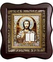 Икона Господь Иисус Христос Фигурный деревянный светлый киот размером 130х260х40 мм, со стеклом. Внутри багетная рамка с ОБЬЕМНЫМ -3 D лик 15х18см :