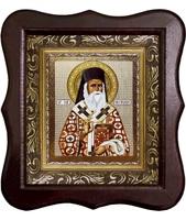 Икона Sf. Nectarie (Нектарий) Фигурный деревянный светлый киот размером 130х260х40 мм, со стеклом. Внутри багетная рамка с ОБЬЕМНЫМ -3 D лик 15х18см :