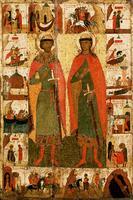 Широкоформатная печатная икона Борис и Г