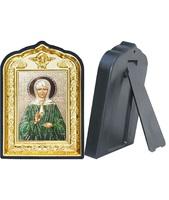 Икона Матрона Московская 14-ПЛ-10 10х14 см пластмасовый киот, лик 6х9 Софрино цветная одежда, оклад (риза) золото