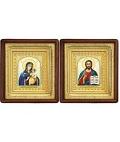 Венчальная пара Икона Спасителя и Неувядаемый цвет Божия Матерь 19-ВП-11 21х24 см деревянный прямой глубокий киот, лик 10х12 Тропарь, оклад (риза) золото