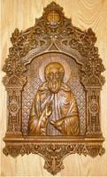 Святой Преподобный Сергий Радонежский - Изысканная резная икона