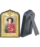 Икона Пантелеймон целитель 14-ПЛ-11 10х14 см пластмасовый киот, лик 6х9 Софрино цветная одежда, оклад (риза) золото