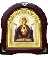 Икона Неупиваемая чаша 12-А-194 в подарочной упаковке 26х29 см деревянный арочный киот, лик 15х18, оклад (риза) золото