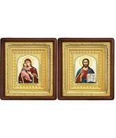 Венчальная пара Икона Спасителя и Владимирская Божия Матерь 19-ВП-12 21х24 см деревянный прямой глубокий киот, лик 10х12 Тропарь, оклад (риза) золото