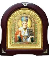 Икона Николай Чудотворец 12-А-175 в подарочной упаковке 26х29 см деревянный арочный киот, лик 15х18 Софрино эмаль, оклад (риза) золото