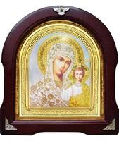 Икона Божьей Матери Казанской 12-А-195 в подарочной упаковке 26х29 см деревянный арочный киот, лик 15х18, оклад (риза) золото