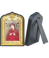 Икона Семистрельной Божией Матери 14-ПЛ-12 10х14 см пластмасовый киот, лик 6х9 Софрино цветная одежда, оклад (риза) золото