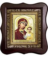 Икона Божией Матери Казанской 1012-ФБ-13 17х20 см деревянный фигурный киот, лик 10х12 Софрино византия, оклад (риза) золото