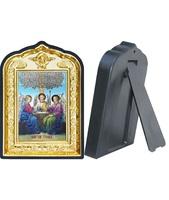 Икона Святой Троицы 14-ПЛ-13 10х14 см пластмасовый киот, лик 6х9 Софрино цветная одежда, оклад (риза) золото