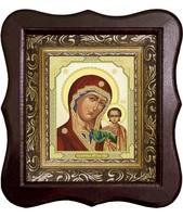 Икона Божьей Матери Казанской 1012-ФБ-14 17х20 см деревянный фигурный киот, лик 10х12 Тропарь, оклад (риза) золото