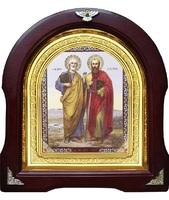 Икона Петр и Павел 12-А-141 в подарочной упаковке 26х29 см деревянный арочный киот, лик 15х18, оклад (риза) золото