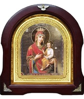 Икона Скоропослушница Божья Матерь 12-А-149 в подарочной упаковке 26х29 см деревянный арочный киот, лик 15х18, оклад (риза) золото