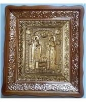 Икона Петр и Феврония 4538-Р-15 45х38 см, деревянный фигурный киот, в ризе