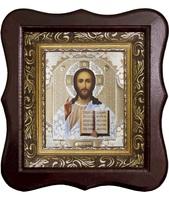 Икона Иисуса Христа 1012-ФБ-15 17х20 см деревянный фигурный киот, лик 10х12 Софрино белая одежда, оклад (риза) золото