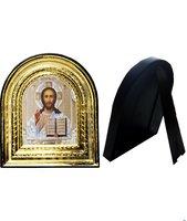Икона Иисуса Христа 32-ПЛ-15 15,5х17,5 см пластмассовый киот, лик 10х12 Софрино белая одежда, оклад (риза) золото