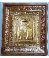 Икона Спиридон Тримифунтский 4538-Р-16 45х38 см, деревянный фигурный киот, в ризе