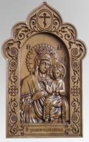 Икона Богородицы Избавительница - красивая икона из дерева с резьбой