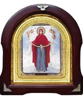Икона Покрова с херуинами 12-А-169 в подарочной упаковке 26х29 см деревянный арочный киот, лик 15х18, оклад (риза) золото