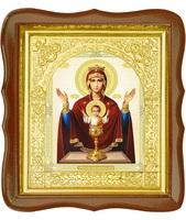 Икона Неупиваемая чаша 17-ФС-194 26х29 см деревянный фигурный светлый киот, лик 15х18, оклад (риза) золото