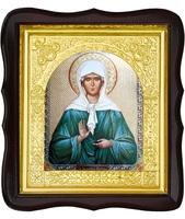 Икона Матрона Московская 17-ФТ-191 26х29 см деревянный фигурный тёмный киот, лик 15х18, оклад (риза) золото