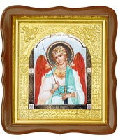 Икона Ангел Хранитель 17-ФС-177 26х29 см деревянный фигурный светлый киот, лик 15х18, оклад (риза) золото