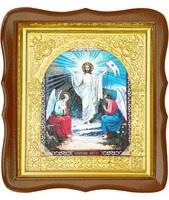 Икона Воскресение Христово 17-ФС-178 26х29 см деревянный фигурный светлый киот, лик 15х18, оклад (риза) золото