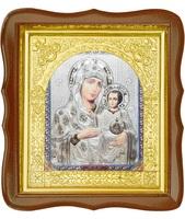 Икона Иерусалимская 17-ФС-179 26х29 см деревянный фигурный светлый киот, лик 15х18, оклад (риза) золото