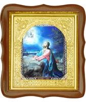 Икона Моление о Чаше 17-ФС-182 26х29 см деревянный фигурный светлый киот, лик 15х18, оклад (риза) золото
