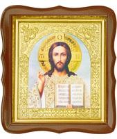Икона Иисус Христос 17-ФС-196 26х29 см деревянный фигурный светлый киот, лик 15х18, оклад (риза) золото