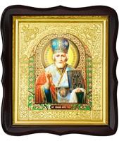 Икона Николай Чудотворец 17-ФТ-175 26х29 см деревянный фигурный тёмный киот, лик 15х18 Софрино эмаль, оклад (риза) золото