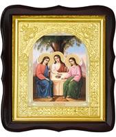 Икона Святой Троицы 17-ФТ-183 26х29 см деревянный фигурный тёмный киот,  лик 15х18, оклад (риза) золото