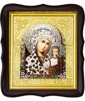 Икона Богородицы Казанской 17-ФТ-188 26х29 см деревянный фигурный тёмный киот, лик 15х18 эмаль №2, оклад (риза) золото
